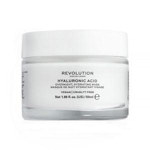 Hyaluronic Acid, Revolution Skincare naktinė drėkinamoji veido kaukė, 50 ml